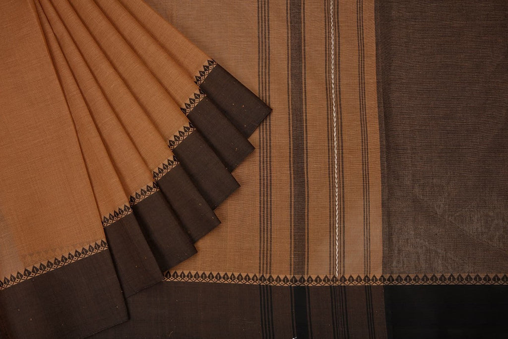 Begampur  Cotton Brown Saree  With Matha Border