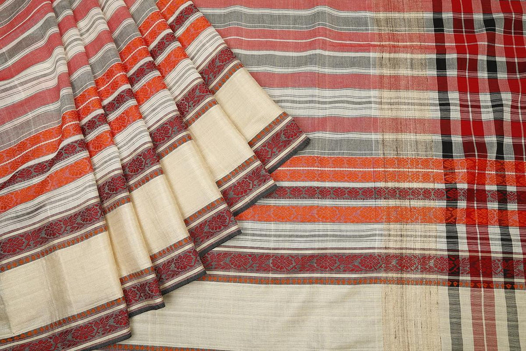 bengal cotton handwoven red black and white stripe Saree