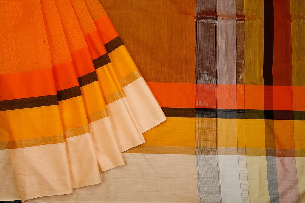 Maheshwari Cotton Silk Yellow Saree