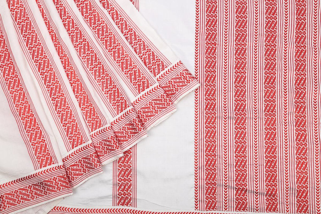 Assam Handwoven Silk  Saree In White And Red