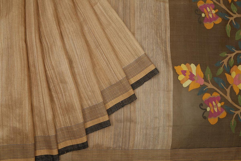 bengal matka silk handwoven chandan plain Saree