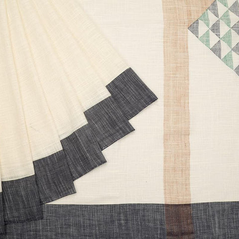bengal handloom cotton off white Saree with ganga jamuna border