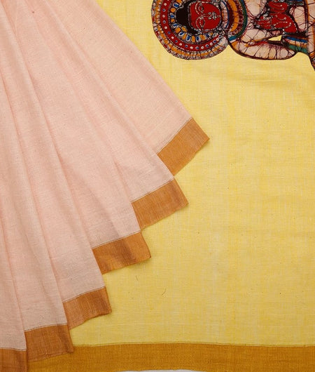 Linen Batik Pink And Yellow Saree