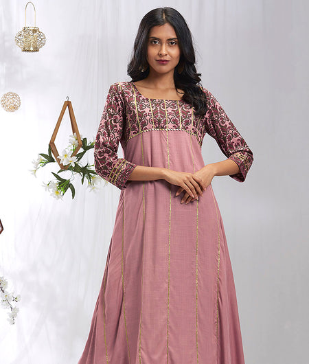 Hand Block Burnt Pink Rayon Kurta Set