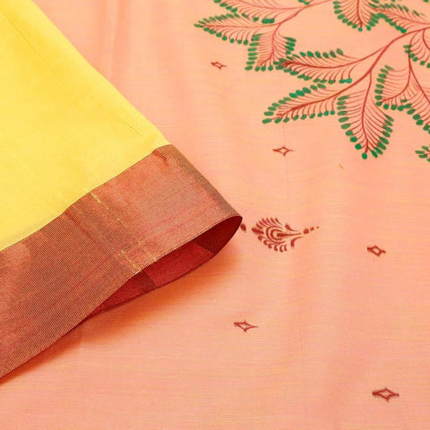 Orissa Cotton Silk Orange Yellow Saree With red stripe and green pyramid border