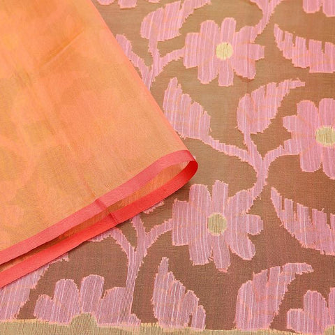 Orange And Coral Pink Organza Silk Jamdani Weave Saree