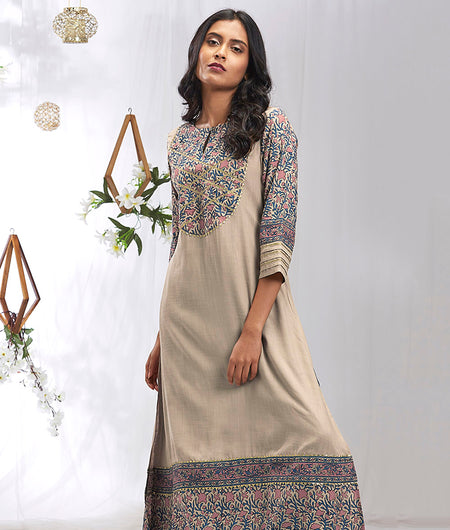 Hand Block Coffee Rayon Kurta Set