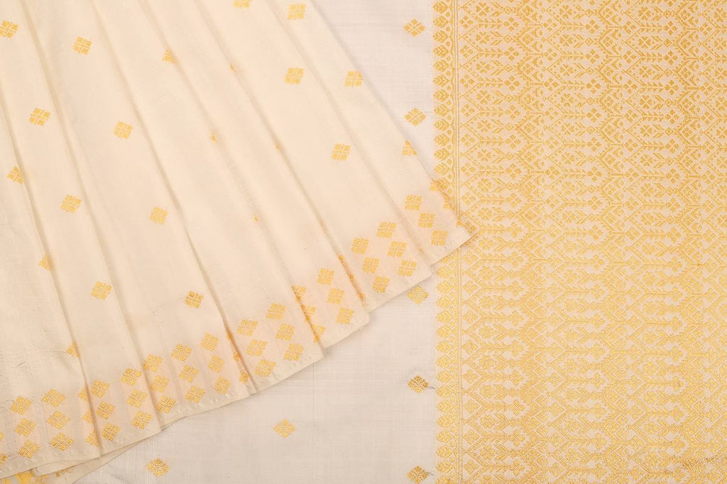 Assam Handwoven Silk  Saree In White And Yellow