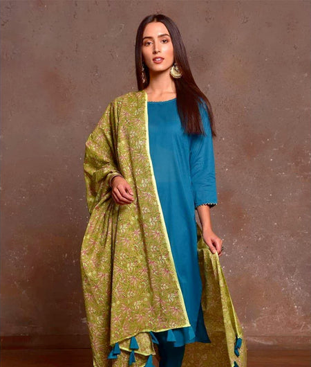 Turquoise And Pista Green Cotton Kurta Pant And Dupatta Set With Hand Block Work