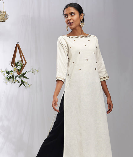 Hand Work Off White Cotton Blend Kurta