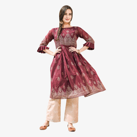 Wine Red Fit And Flare Kurta With Cropped Pants