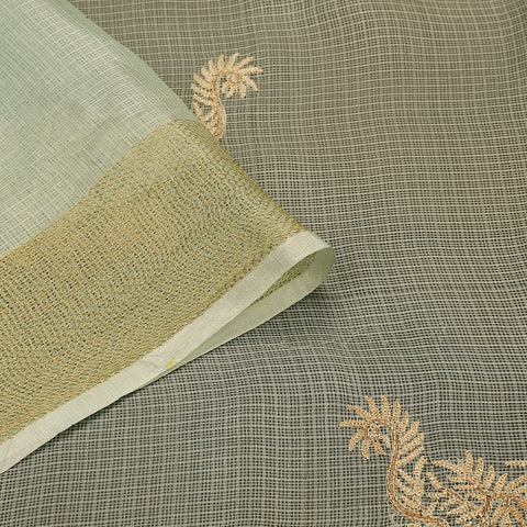 Handwoven light green organza silk Saree with weaving border