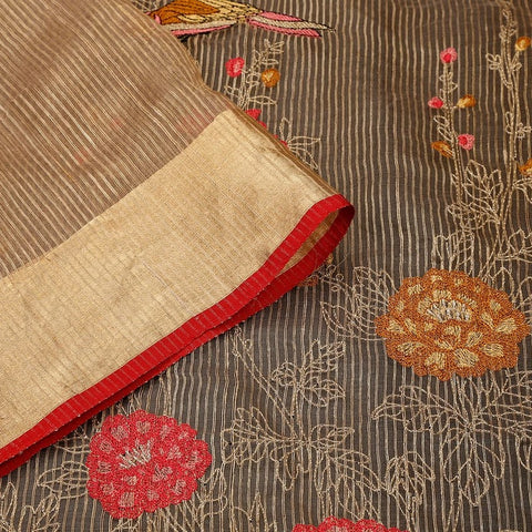 Handwoven golden organza silk Saree with thick zari border