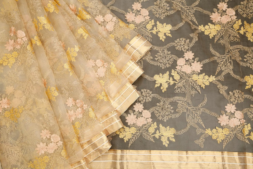 Handwoven Beige Organza Silk Saree With Striped Zari  Border