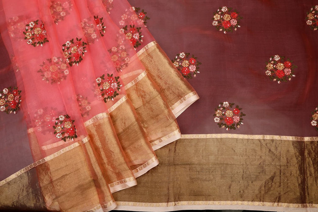 Handwoven Dark Peach Organza Silk Saree With Tissue Border