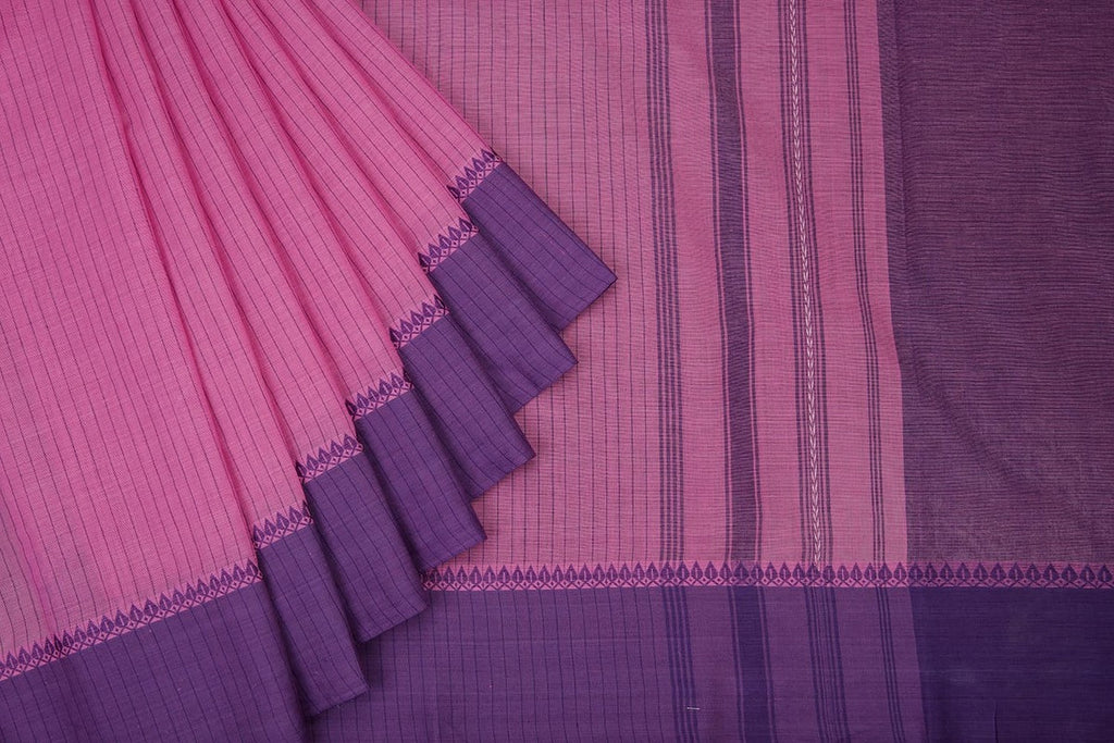 Begampur  Cotton Purple Saree  With Matha Border