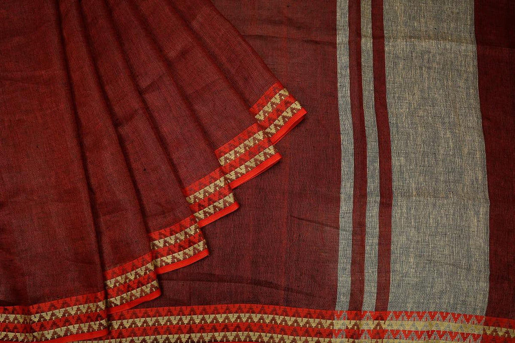Bhagalpur linen dobi brown  Saree