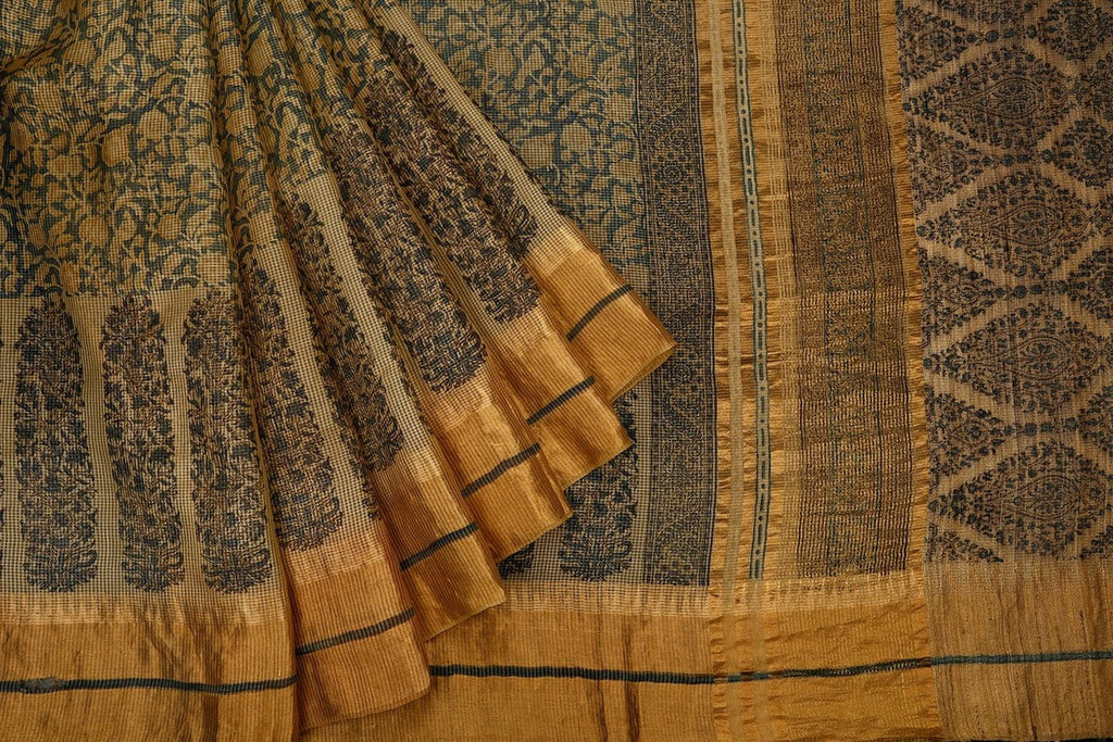 Tussar Silk Handblock Print Saree In Beige Colour Natural Dye