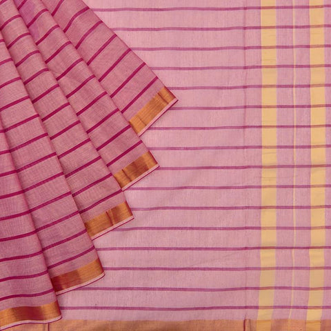 pastel pink Andhra cotton Saree with pink stripes