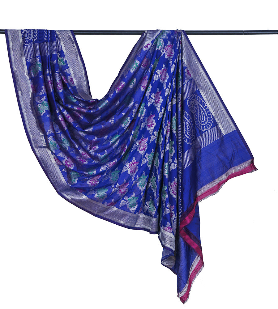 Banarasi katan silk cotton royal blue Dupatta  with floral minadar butta