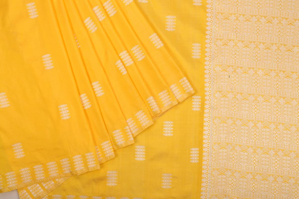 Assam Handwoven Silk  Saree In Yellow