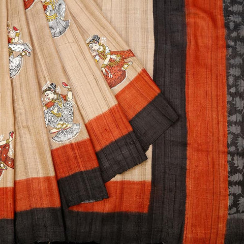 Orissa Tussar Silk Beige Saree With Temple Design Border