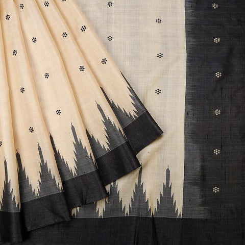 Orissa Tussar Silk Beige Saree With Plain Yellow Border