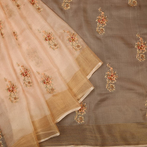 Handwoven light peach kota silk Saree with weaving border