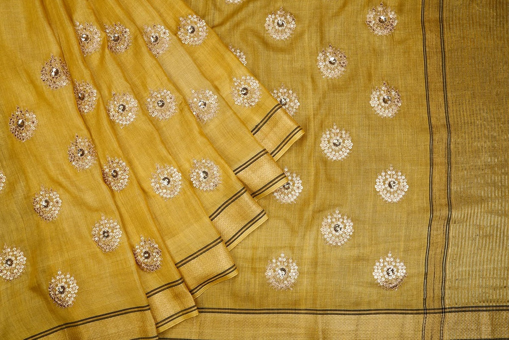 Handwoven olive green Tussar silk Saree with zari stripped border