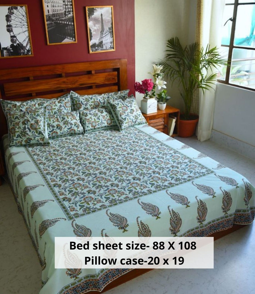 Hand Block Indigo Bed Cover with Pillow Cases