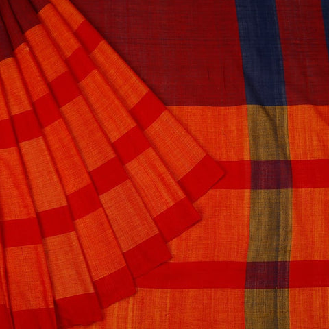 Assam Cotton Saree In Red And Orange