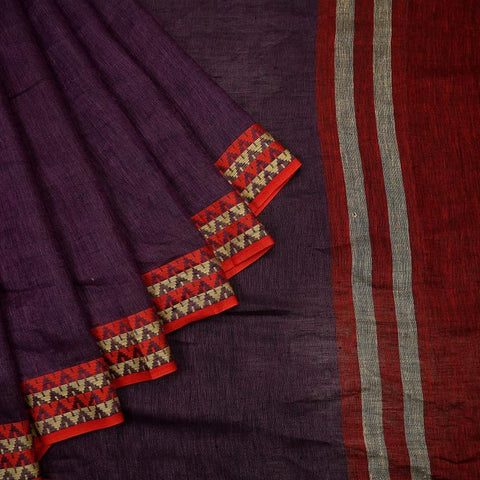 Bhagalpur linen dobi purple  Saree