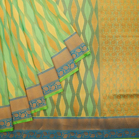 Lawn Green Silk Kota Silk Zari Work Saree