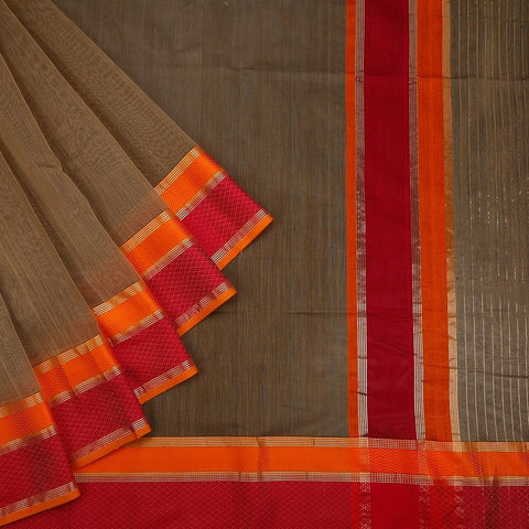 Maheshwari Cotton Silk Saree In Rust