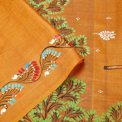 Orissa Tussar Silk Golden Saree With Running Border