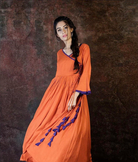 Rust Rayon Angrakha Kurta Pants With Blue Tassels