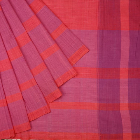 Assam Cotton Light Pink And Purple Saree