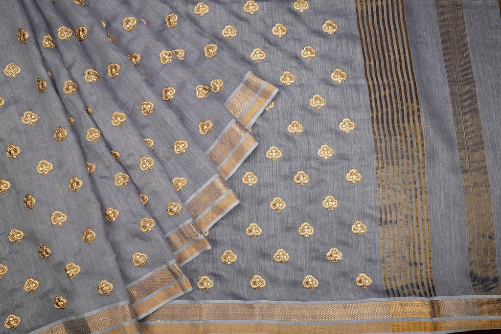 Handwoven Bluish Grey Tussar Silk Saree With Striped Zari Border