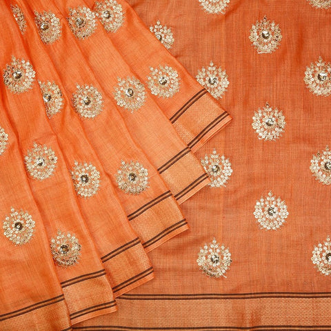 Handwoven orange Tussar silk Saree with weaving border