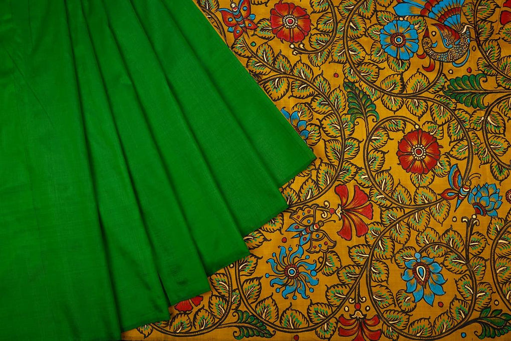 Orissa Silk Green And Yellow Saree With Golden Design Border