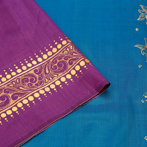 Orissa Silk Blue And Purple Saree With Golden Coin Border