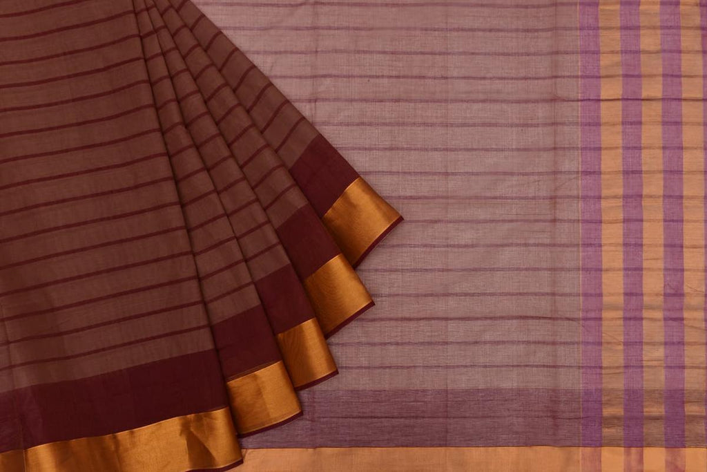 chocolate brown Andhra cotton Saree with brown stripes
