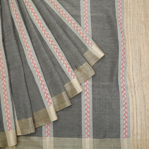 Bengal cotton grey Saree with plain khaki border