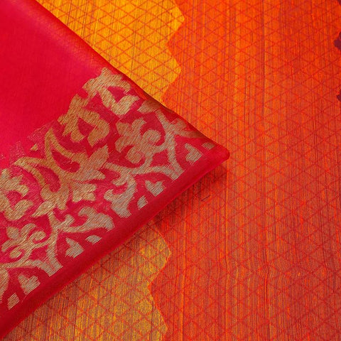 Orange Red And Pink Organza Silk Jamdani Weave Saree