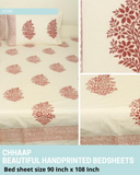 Cream and pink Handblock Printed Cotton Double Bedcover with Pillow Covers (Set of 3)