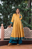 Yellow Bandhani Anarkali With teal Borders