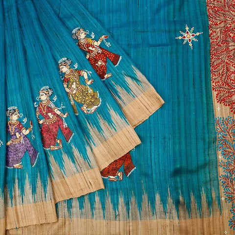 Orissa Tussar Ghicha Silk Blue Saree With Black Temple Border
