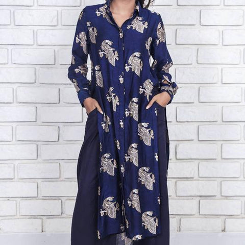 deep blue  silk cotton  with lining shirt style kurta