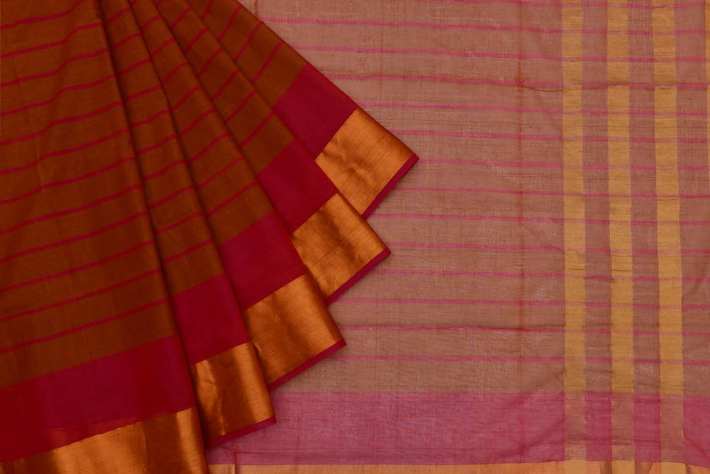 maroonish brown Andhra cotton Saree with red stripes
