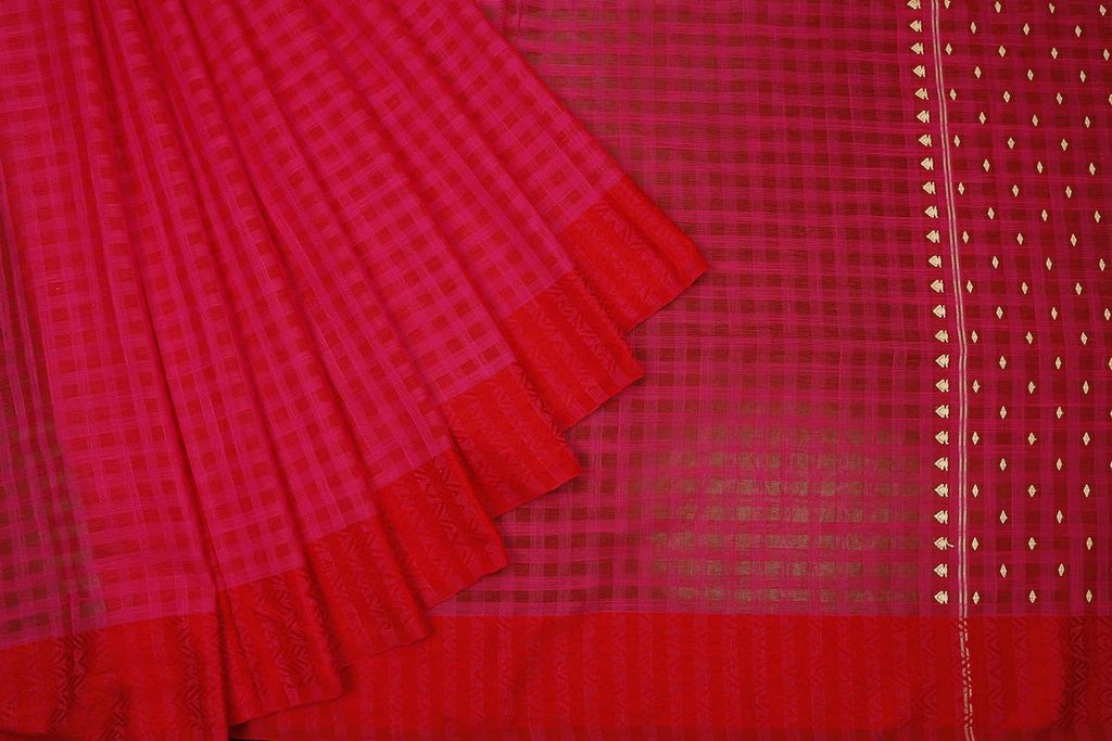 bengal cotton handwoven pink and red checks Saree